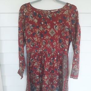 Lucky Brand Maroon Floral Babydoll Dress S